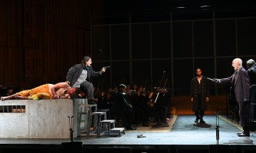 David Lang's Prisoner of the State performed by The BBC Symphony Orchestra & BBC Singers conducted by Ilan Volkov (Julie Mathevet* The Assistant, Jarrett Ott The Prisoner, Alan Oke The Governor, Davóne Tines The Jailor) in the Barbican Hall on Friday 10 Jan. 2020. Photo by Mark Allan
